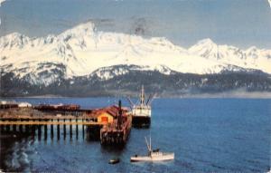 Seward Alaska~Steamer Docking at Southern Terminus~1955 Postcard