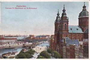 Amsterdam , Netherlands , Panorama Pr. Hendrikkade met St. Nicolaaskerk, 00-10s