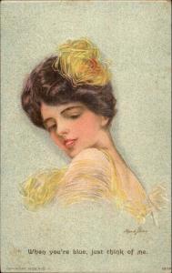 Beautiful Brunette Woman Yellow Flower in Hair Maud Stamm c1910 Postcard