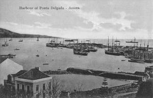 Azores Portugal Ponta Delgada Harbor Antique Postcard K76738