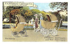 Leominster MA F. A. Whitney Baby Carriages Curt Teich Linen Postcard