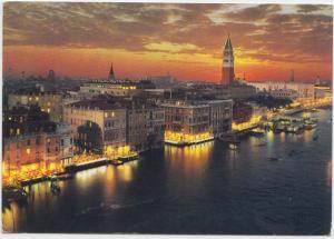 VENICE, VENEZIA, at night, St. Mark Basin used Postcard