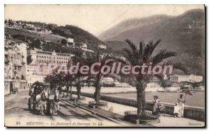 Old Postcard Menton Garavan Boulevard De