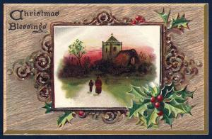 Christmas Blessings Tucks Oak Panel Series used c1910's