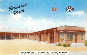 STANDARD MOTEL Wells, Nevada Highway 40 Roadside ca 1950s Vintage Postcard