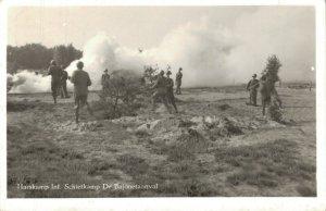 Military Dutch postcard Harskamp Infanterie Schietkamp Bajonetaanval RPPC 3.30