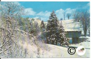 Old Postcard. Beautiful Winter Scene, Snow On Covered Bridge Vermont