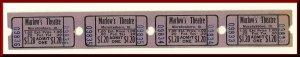 Four $1.20 Marlow's Movie Theatre Tickets, Murphysboro, Illinois/IL, 195...