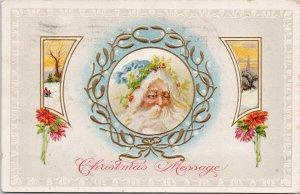 Santa Claus Christmas Message JJ Marks #517 Embossed Postcard G33