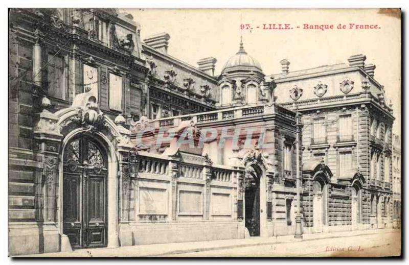 Postcard Former Bank of France Lille tax stamps