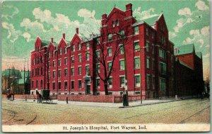 Fort Wayne, Indiana Postcard St. Joseph's Hospital Street View c1910s Unused