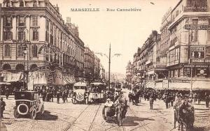 France Marseille - Rue Canebiere, Cafe, vintage auto cars, sidecar motorcycle