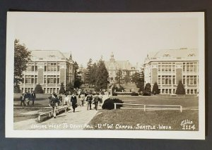 Mint Seattle University Washington Campus West Denny Hall Real Picture Postcard