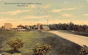 Danville IL Long Rd to Opera House & Chapel @ The Civil War Soldier's Home 1911
