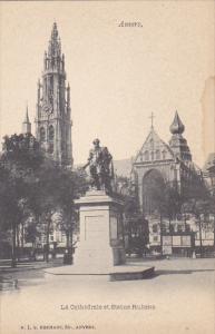 Belgium Gand La Cathedrale et Statue Rubens