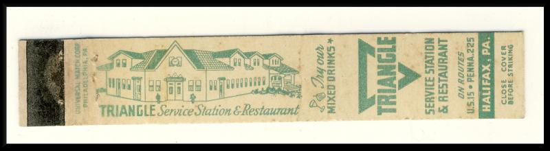 Halifax, Penn/PA Mini-Matchcover,Triangle Restaurant/Gas Sta