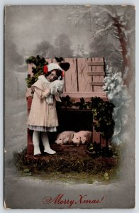 Christmas~Little Girl Cuddle Fur Muff~Visits Pigs in Crib~1908 GEL Germany