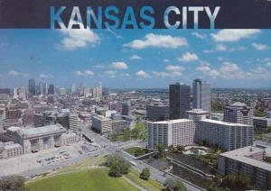 Missouri Kansas City Aerial View Showing Union Station Crown Center & Dow...