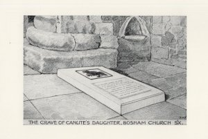 The Grave of King Canute's Daughter Bosham Church Postcard