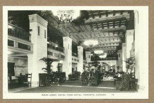 RP: TORONTO, Ontario, Canada, 1920-1940s; Main Lobby, Royal York Hotel