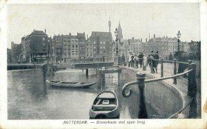 Netherlands Rotterdam Binnenkade met open brug 06.87