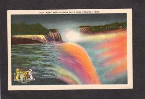 NY Niagara Falls Night New York ON Ontario Canada Postcard Illumination