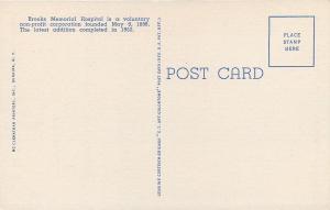 Dunkirk New York~Brooks Memorial Hospital~1953 Cars~Linen Postcard