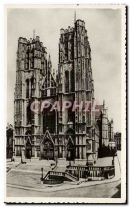 Old Postcard Brussels Collegiate Church of SS Michael and Gudula