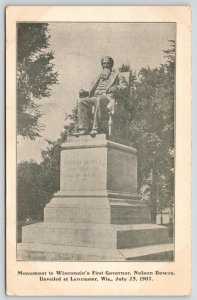 Lancaster Wisconsin~Governor Nelson Dewey in Chair Monument~Unveiled 1907~PC