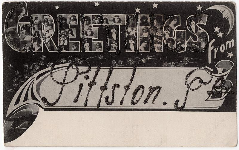 1907 Greetings From Pittston PA Luzerne Anglo American P.C. UDB Glitter Postcard