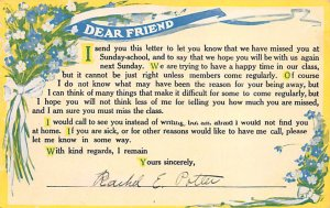 Religious Postcard Dear Friend We missed you in Sunday School 1916