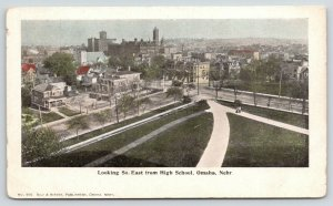 Omaha Nebraska~Birdseye Down Path From High School~Homes~City Skyline~c1905