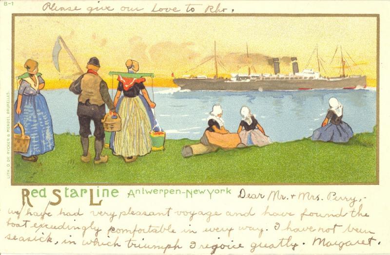 People in folk costume watching Red Star Line steamship