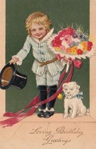 BIRTHDAY, PU-1908; Boy bowing, bouquet of flowers, Maltese dog, PFB 9738