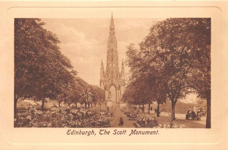 EDINBURGH SCOTLAND UK THE SCOTT MONUMENT~TUCK SEPIA PLATE MARKED #2459  POSTCARD