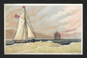 VICTORIAN TRADE CARD Two Sail Boats