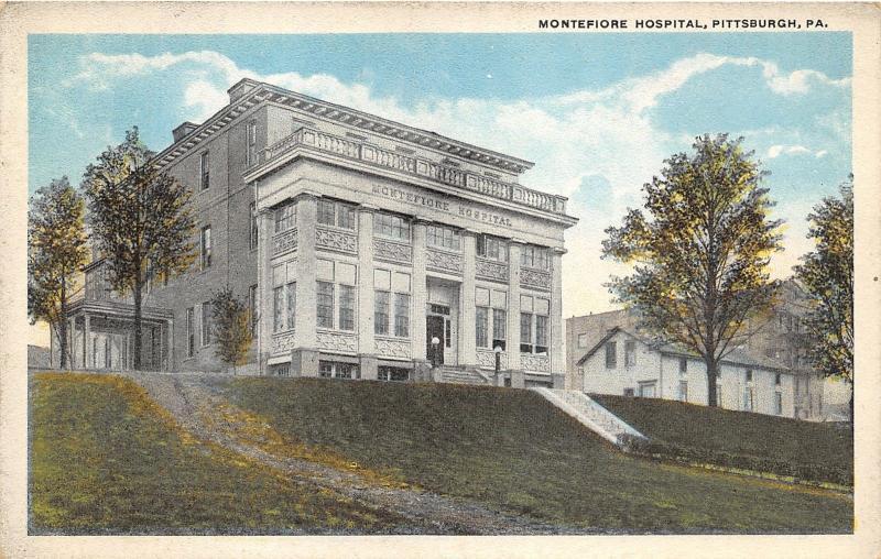Pittsburgh Pennsylvania~Montefiore Hospital Building on Hill~1920s Postcard