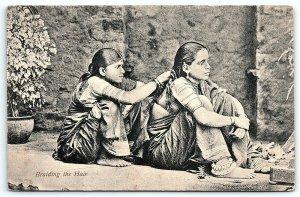 VTG Postcard Native Women India Indian Braiding Hair Street View Girls Floor A4