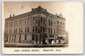 Estherville Iowa~Post Office Block~Littell's General Store~Enterprise~1907 RPPC