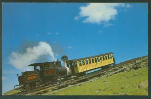 AT SKYLINE Mt Washington NH White Mountains Cog Railway Railroad Train Postcard