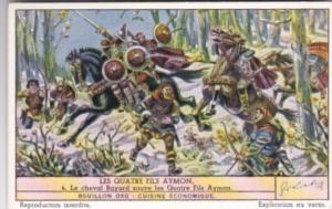 LIebig Trade Card S1452 Four Sons Of Aymon No 4 Le cheval Bayard sauve les Qu...