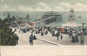 Pier and Bandstand, Southend-On-Sea, England, Early Postcard, Used in 1904