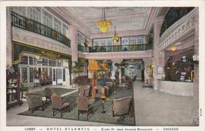 Illinois Chicago Hotel Atlantic Lobby Curteich