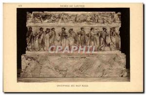 Old Postcard Paris Musee du Louvre Sarcophagus of the Muses nine