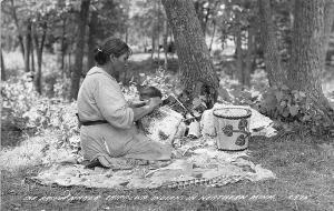 Basket Maker Chippewa Indians Northern Minn. 1941 RPPC Postcard
