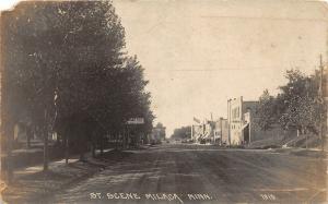 F36/ Milaca Minnesota RPPC Postcard 1919 Street Scene Stores