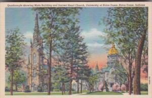 Indiana Notre Dame University Main Building and Sacred Heart Church Curteich