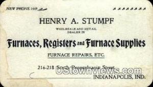 Furnace Supplies, Henry A. Stumpf, Non Postcard Indianapolis IN Unused