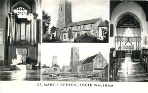 South Walsham UK~St Mary's Church Exterior~Pipe Organ~Sanctuary 1950 RPPC