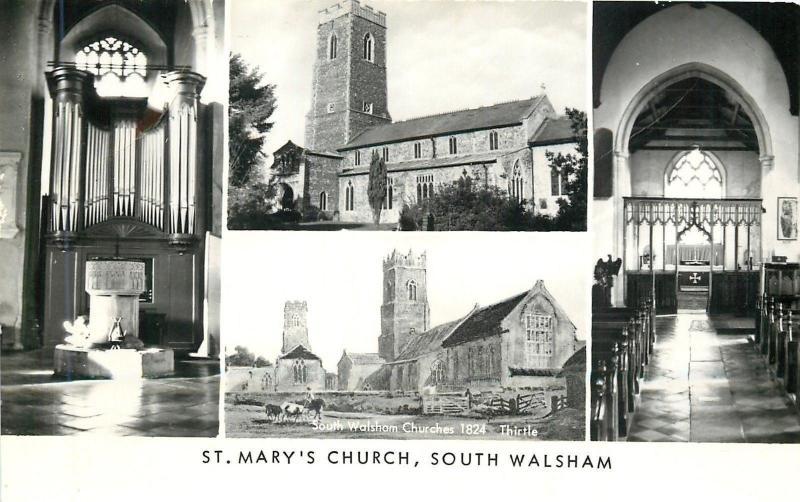 South Walsham UK~St Mary's Church Exterior~Pipe Organ~Sanctuary 1950 RPPC